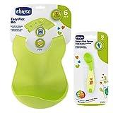 CHICCO 2er Set Soft Bib Schildlätzchen mit Auffangschale & Esslernlöffel abgewinkelt, BPA frei