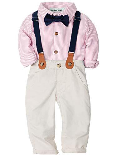 Zoerea Baby Jungen Gentleman Suit Hosen Hemd Fliege Hosenträger für Weihnachten Hochzeitsfest Rosa,110