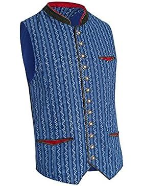 Almsach Herren Trachten Weste aus Baumwolle 307/Nougat/GF20 in blau