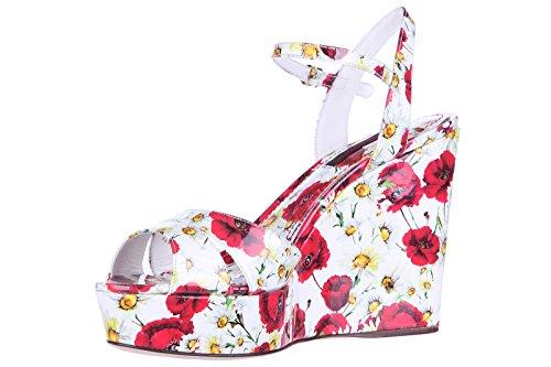 Dolce&Gabbana compensées escarpins chaussures sandales femme cuir vernis impress Blanc