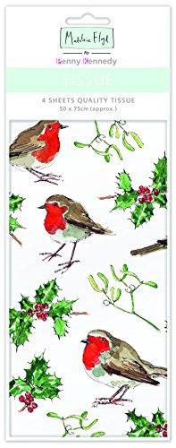 Madeleine Floyd Robin & Holly Weihnachten Tissue Papiertaschentuch/Geschenkpapier LUXUS 4Blatt 50x 70cm Floyd Holly