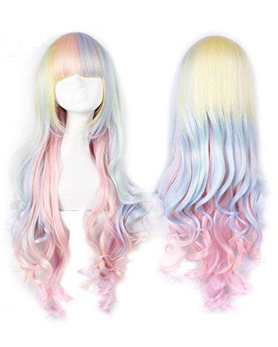 Farbenfrohe Kostüme (Fashion wigstyle Lolita Rainbow Farbe Lang Gewellt Cosplay Perücken farbenfrohe Kostüme Perücken für Mädchen mit Pony Party)