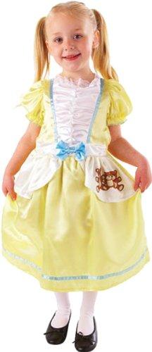 Kinder Goldlöckchen Kostüm Mädchen Märchen Kostüm Outfit - Gelb, 116-128 (Kinder Kostüm Goldlöckchen)