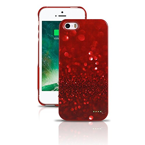 iPhone 5/5S/5SE- Protective and Ultra Slim Rechargeable Battery Case -Stacking Power - Red