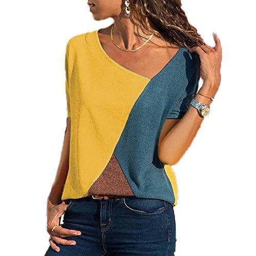 Damen Casual Patchwork Farbblock Kurzarm T-Shirt Sommer Mode Asymmetrischer V-Ausschnitt Oberteile