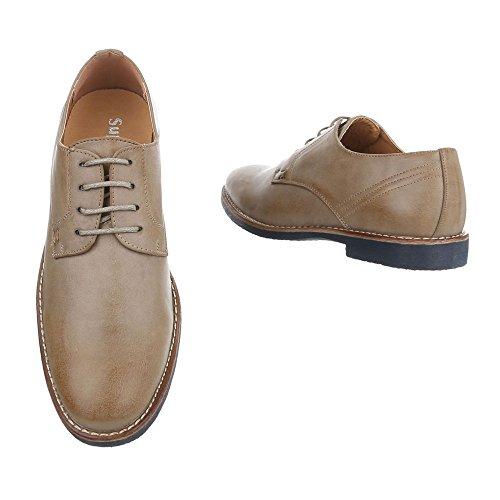 Budapester Stil Herrenschuhe Oxford Blockabsatz Schnürer Schnürsenkel Ital-Design Business-Schuhe Hellbraun