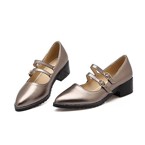 VogueZone009 Femme Pointu à Talon Correct Couleur Unie Boucle Chaussures Légeres Kaki