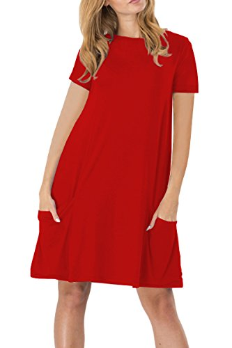YMING Damen Frühling Herbst Kleid Casual Kurzarm Tunika Rundhals Basic Blusenkeid Plus Größe,Rot,XXXL/DE 46-48