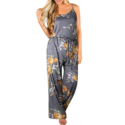 VEMOW New Fashion Boho Jumpsuit Elegante Damen Frauen Floral Sleeveless Urlaub Lange Playsuits Casual Täglichen Party Strand Lose Romper Overall(Gelb, EU-46/CN-XXL) (Floral Sleeveless Rock)
