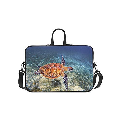 Meeresschildkröte Meerwasser Retro Digital Aktentasche Laptoptasche Messenger Schulter Arbeitstasche Crossbody Handtasche Für Geschäftsreisen