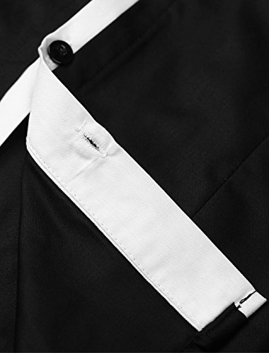 Allegra K Homme Couleur Contrastée Manches Longues Slim Fit Bouton Chemise Black