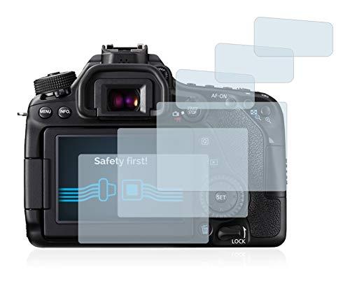 Savvies Schutzfolie für Canon EOS 80D [6er Pack] - klarer Displayschutz