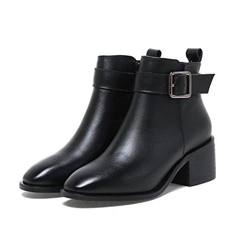 Short boots Herbst und winter-leistungs-verhältnis Volle felle Grobe niedrigem absatz Gürtel schnallen stiefel-schwarz Fußlänge=24.3CM(9.6Inch) (Herren Stiefel Zip Kleiden)