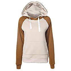 Women Hooded Sweatshirt Casual Long Sleeve Female Pullover Loose Tops Women Hoodies (S, Khaki+brown)