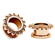 Briana Williams 1 Paar Ohr Tunnel Chirurgenstahl Blumen Ohr Plug Expander Set Rosegold Piercing 6/8/10/12/14/16mm