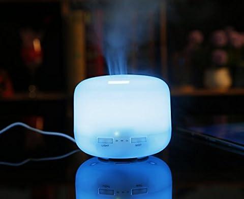 FuXing Aroma diffuseur, Diffuseur d'huile essentielle Aromathérapie ultrasonique 300ml avec Peut changer 7 couleurs LED Lights Arrêt automatique sans eau Humidificateur de brume pour la maison, yoga, bureau, spa, chambre à coucher (court)