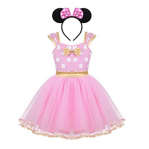 Tiaobug Baby Mädchen Kostüm Prinzessin Kleid mit Haarreif Maus Ohren Weiß Rot Rosa gepunktet Verkleidung Partykleid Festzug Weinachten Karneval Fasching Costume Rosa 18-24 Monate (Prinzessin Kostüm 18 24 Monate)