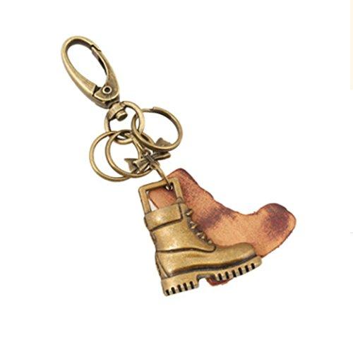 KnSam Schlüsselanhänger aus Leder und Metalllegierung Stiefel Taschenanhänger Schlüsselbund für Herren und Damen - Gold [Neuheit (Schwarz Super Mädchen Und Stiefel Silber)