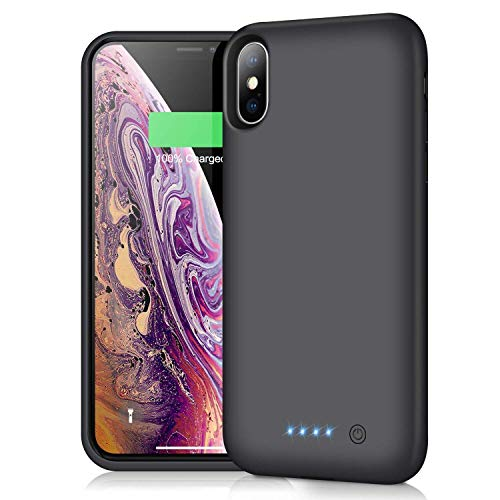 iPosible Cover Batteria per iPhone X/XS/10, 6500mAh Cover Ricaricabile Custodia Batteria Cover Caricabatteria Battery Case per iPhone X/XS/10 [5.8''] Cover Power Bank Backup Charger Cas