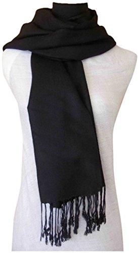 Solides secondes couleur châle pashmina enveloppe d'écharpe Châles Pashminas Foulards (60+ couleurs) Noir