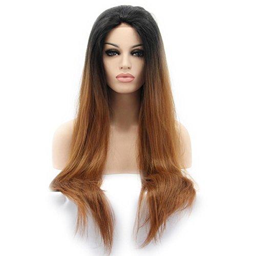 SHKY 2 Töne Straight Long Swiss Lace Front Perücke schwarz ombre braun Klebstoff Hitze resistente Faser synthetische Haare Perücke für Frauen , 22 (Kostüme Perücke Blau Twotone)
