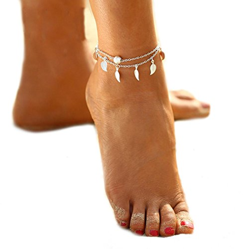 Simsly Tassel Leaves Foot Chain Ankle Anklet Bracelet accessories Boho jewelry for women and girls(silver)