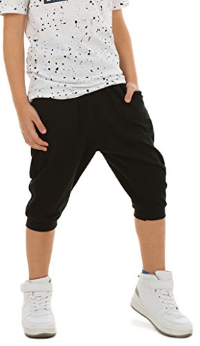 ModaFresca Solvera_Ltd Jungen Baggy Hose Sportshose 3/4 Kinder Baby Frühling Sommer Schule Camuflage Military oder Einfarbig 116-158 (Schwarz, 140-146)