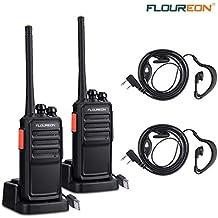 FLOUREON Recargable Walkie Talkie 16 Canales PMR446 MHz Sin Licencia Radio Bidireccional Transceptor de Mano Indicador