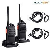FLOUREON Ricetrasmittenti Ricaricabile Professionali 16 Canali PMR446 MHz Walkie Talkie Ricetrasmittente Nessuna Licenza Portatile Indicatore VOX Funzione (Nero, 1 Paio)