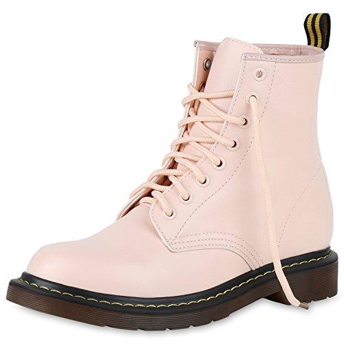 SCARPE VITA Damen Stiefeletten Worker Boots Metallic Schnürstiefel Outdoor 164173 Rosa Lack 38