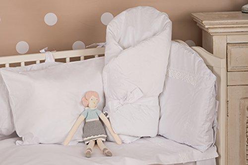 Vizaro - BABYHÖRNCHEN / Einschlagdecke / Wickeltuch / Decke / Pucksack - verpolstert, sehr weich - 100% Baumwolle - Hergestellt in der EU mit kontrolle gegen schädlichen substanzen - SICHERES PRODUKT: das baby kann ohne risiko daran lutschen - Weiße Stickerei