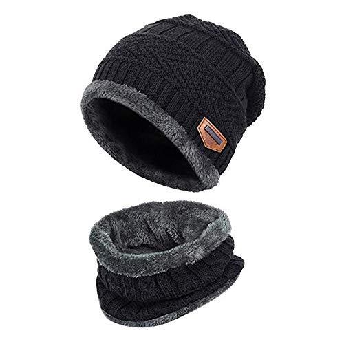Aisprts Cappello Bambino Invernale Cappello Bambini Cappelli Inverno Cappello Bambino Beanie Sciarpa (Nero)