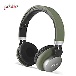 Pebble ELITE Over Ear Wireless Headset Bluetooth 4.0 HD Stereo Headphones Foldable with Mic 5-6-Hour Playtime Wired and Wireless Headphones for iPhone Android Tablet PC and More | Military Green
