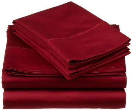 Jose Farmer Bettwäsche Hotelqualität Fadenzahl 1000100% ägyptische Baumwolle Ultra Soft 4Stück Bed Sheet Set Fitt bis 38,1cm Deep Pocket Set (King, Burgund, Massiv) (20-zoll-pocket-king-blatt)
