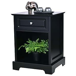 costway black bedside table nightstand wooden bedroom end side tables cabinet unit. Black Bedroom Furniture Sets. Home Design Ideas