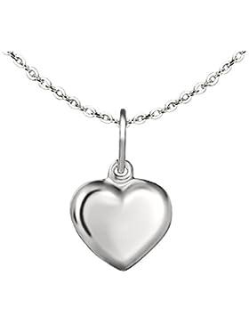 CLEVER SCHMUCK-SET Silberner kleiner Anhänger Mini Herz 8 mm schlicht beidseitig leicht plastisch gewölbt hochglänzend...