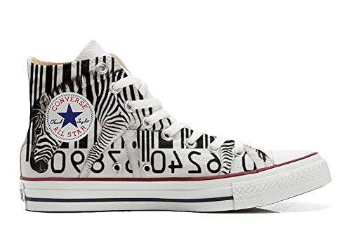 (Converse All Star Hi Customized personalisierte Schuhe (Handwerk Schuhe) Zebra Barcode TG39)