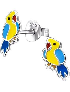 Laimons Kids Kinder-Ohrstecker Kinderschmuck Papagei Vogel Gelb, Blau Sterling Silber 925