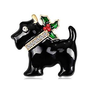 GROOMY Weihnachten Neujahr Puppy Dog Brooch Strass Pins Mode Schal Corsage Geschenke