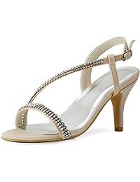 ElegantPark EP11097 Mujer Sat¨¦n Open Toe Sandalias Rhinestones Cadenas Tac¨®n De Aguja Bombas Zapatos De Fiesta