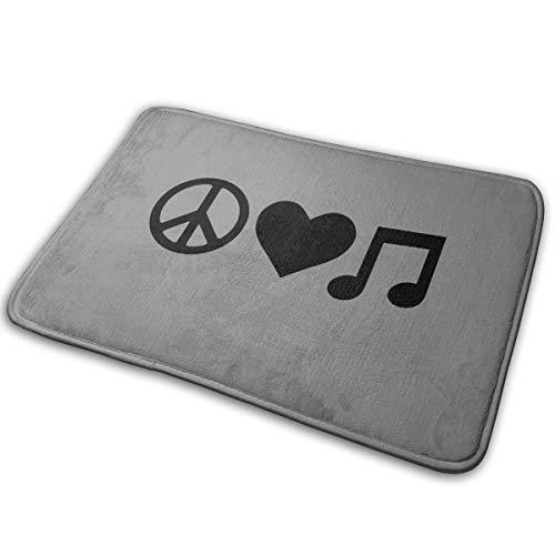 """Door Mat Non Slip Indoor Peace Love Music Kitchen Mat15.7"""" X 23.5"""""""