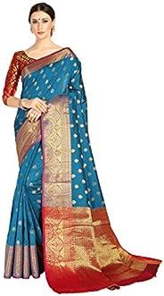 COTTON SHOPY Women's Banarasi Silk Saree With Unstitched Bl