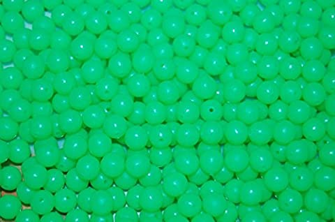 100Pcs 4/5/6/7/8/10/12mm Green Glow in the Dark Round Luminous Beads Sea Fishing Float Floating Tackle Tools - Green,