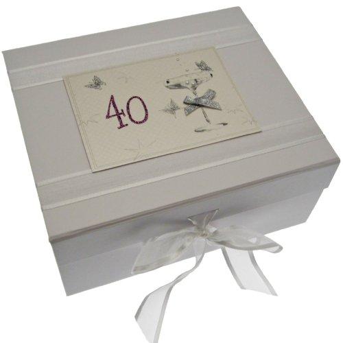 White Cotton Cards, Cofanetto porta ricordi di compleanno fatto a mano, misura piccola, 40 anni, Bianco