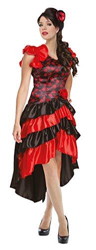 Karneval-Klamotten Spanierin Kostüm Damen Flamenco Damen-Kostüm INKL. Haarklammer Blüte Karneval Damenkostüm Größe 36/39