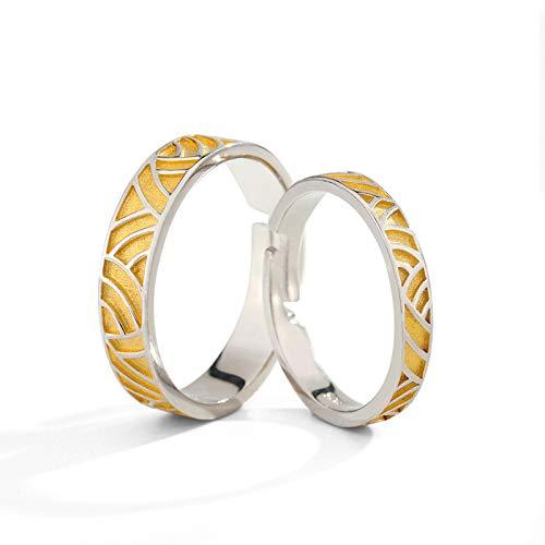 WLG Paar Ringe Öffnung Einstellbar Hochzeitsring Verlobungsring Sterlingsilber Einfach Mode Freund Und Freundin/golden / 2 Stück
