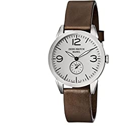 Zeno Herren 42mm Braun Leder Armband Edelstahl Gehäuse Saphirglas Uhr 4772Q-A3-1