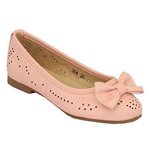 Mädchen Kinder Ballerina Flach Zum Hineinschlüpfen Pumps Schuhe Pink - 304