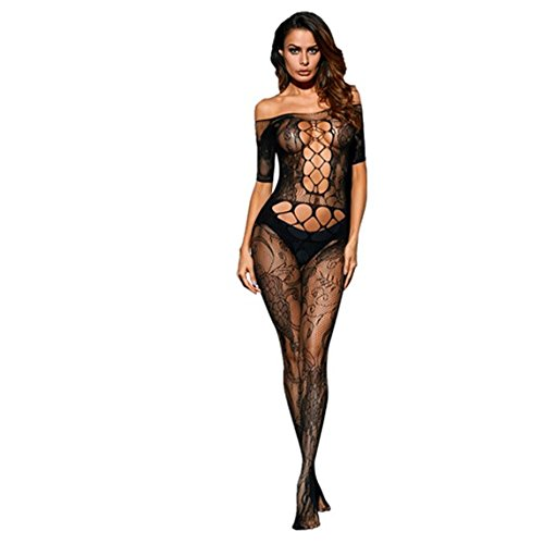 Frauen-reizvolle Wäsche-Blumenloch-Ausschnitt-weg von der Schulter-Spitze Bodystocking erotische Kostüme (Bodystocking Spitzen Leg)
