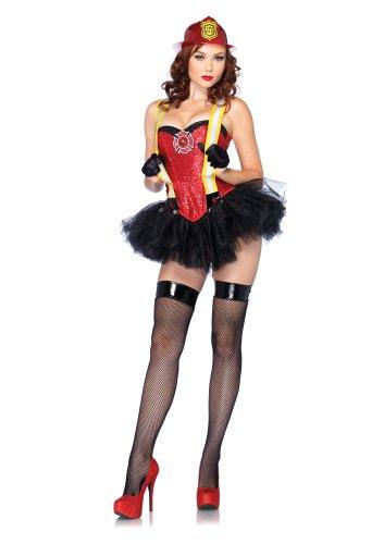 (Leg Avenue 85118 - Feuerwehr Kostüm Set, Größe L, rot)